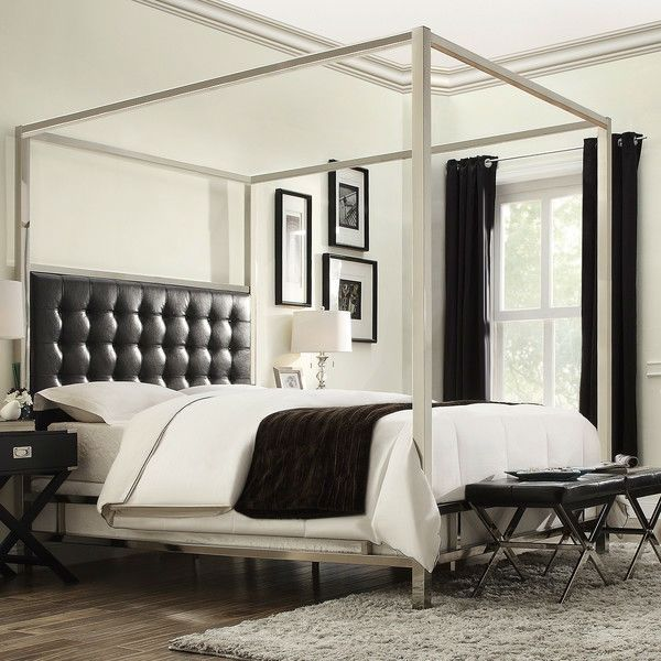 King size Metal Canopy Bed with Black Faux Leather Upholstered Headboard - Quality House & King size Metal Canopy Bed with Black Faux Leather Upholstered ...