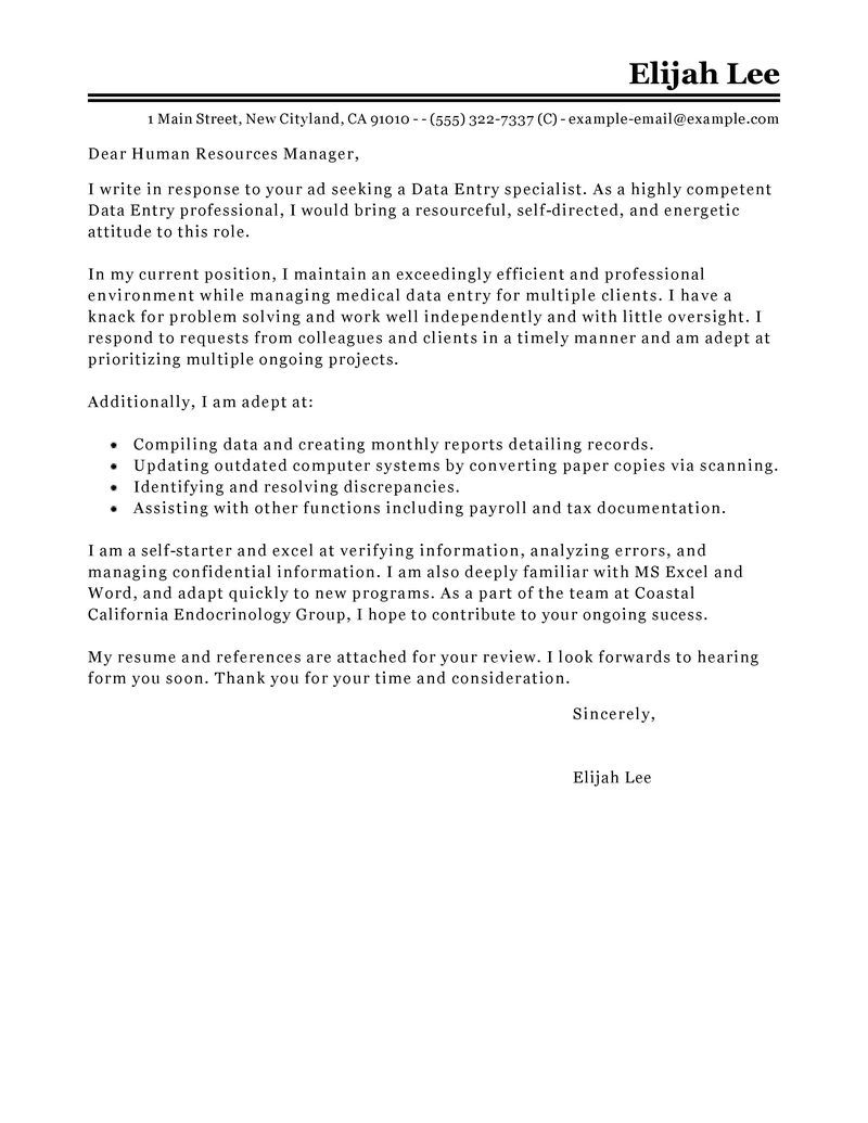 leading professional data entry cover letter examples amp resources example job application philippines templates - Sample Cover Letter For Medical Assistant
