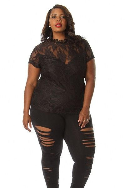 Plus Size Textured LaceMock Neck Top