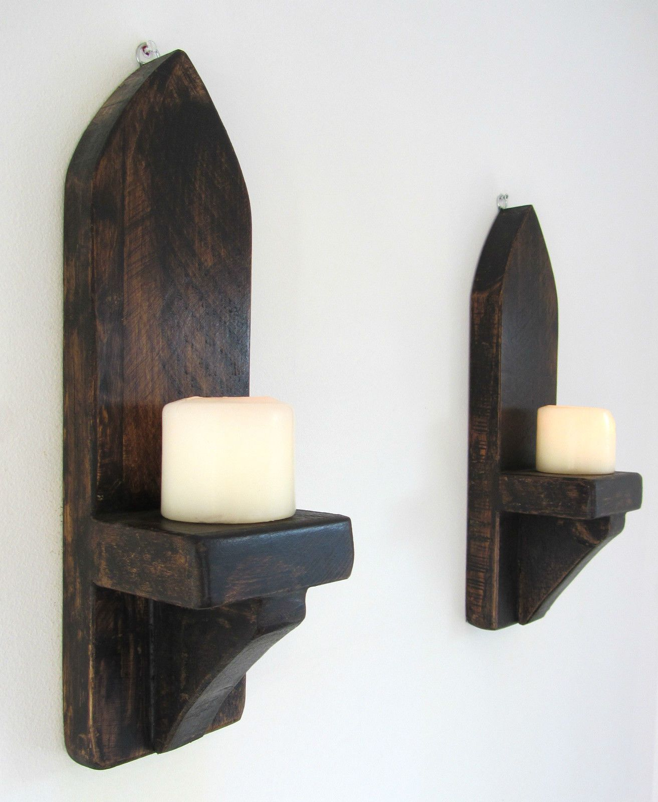 Pair of 40cm rustic solid wood dark wax gothic arch wall sconce
