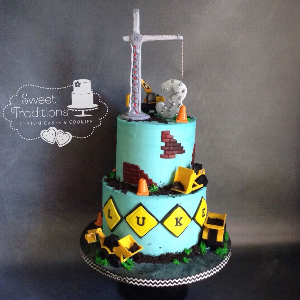 Sweettreats By Jen More Kids Cakes: Construction Birthday Cake. Crane Topper, Trucks,