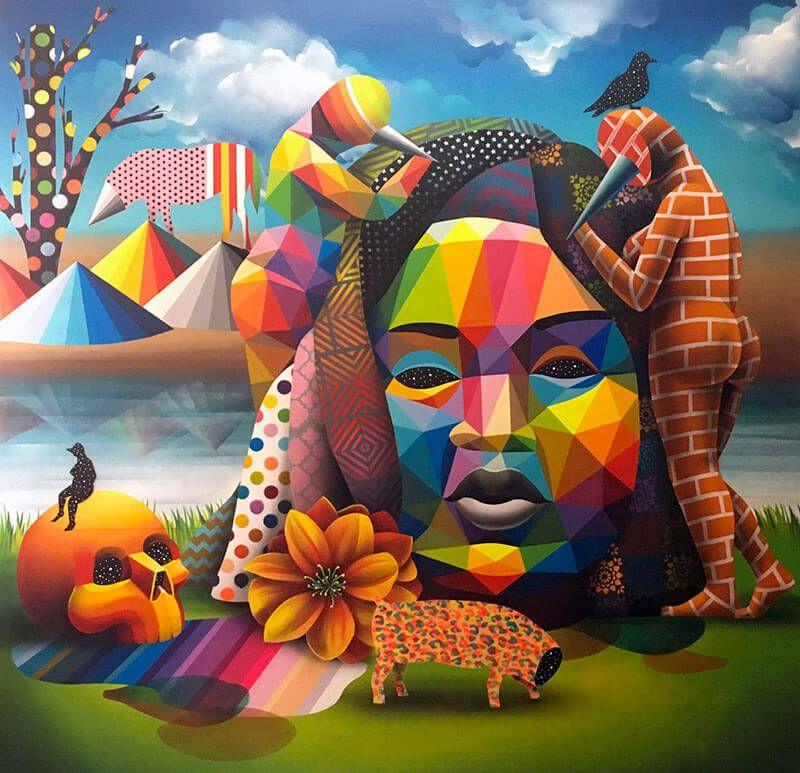 Galeria Pinturas De Arte: Explosión De Color Y Emoción En Las Pinturas Geométricas