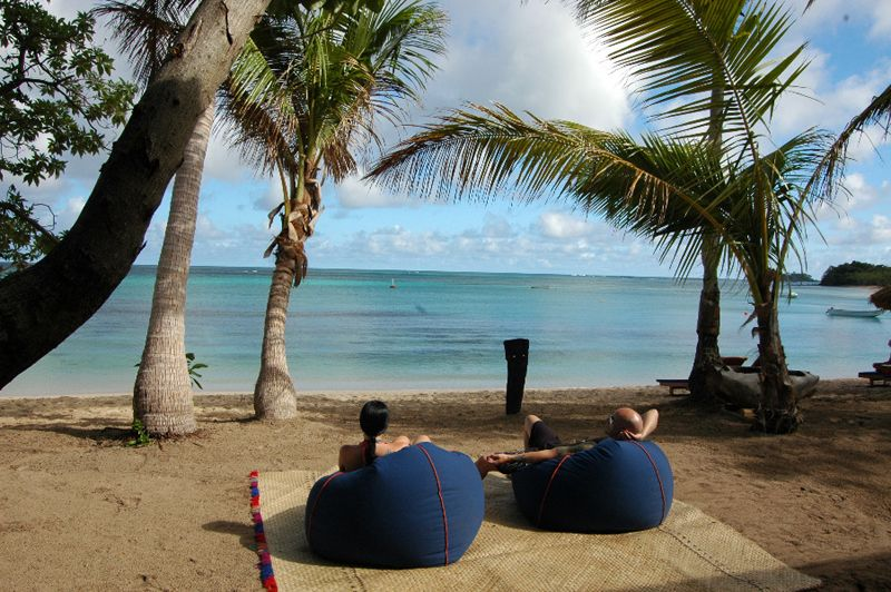 Chilling Outside The Blue Lagoon Beach Resort In Fiji