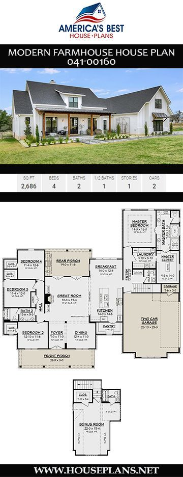 Modern Farmhouse House Plan 041-00160 #buildingahouse This 2,686 sq. ft. Modern Farmhouse house plan features 4 bedrooms, 2.5 bathrooms, an open floor plan, a split bedroom layout, and a 2 car garage. #modernfarmhousebedroom