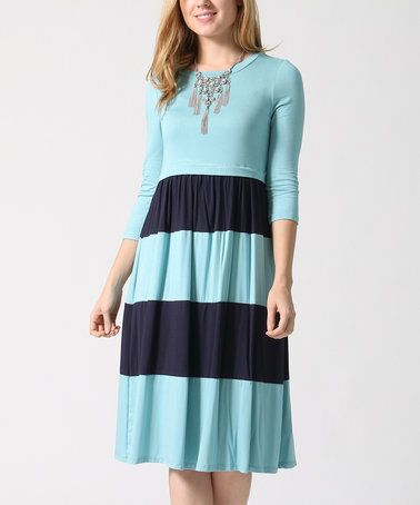 Another great find on #zulily! Dusty Blue & Navy Stripe Fit & Flare Dress #zulilyfinds