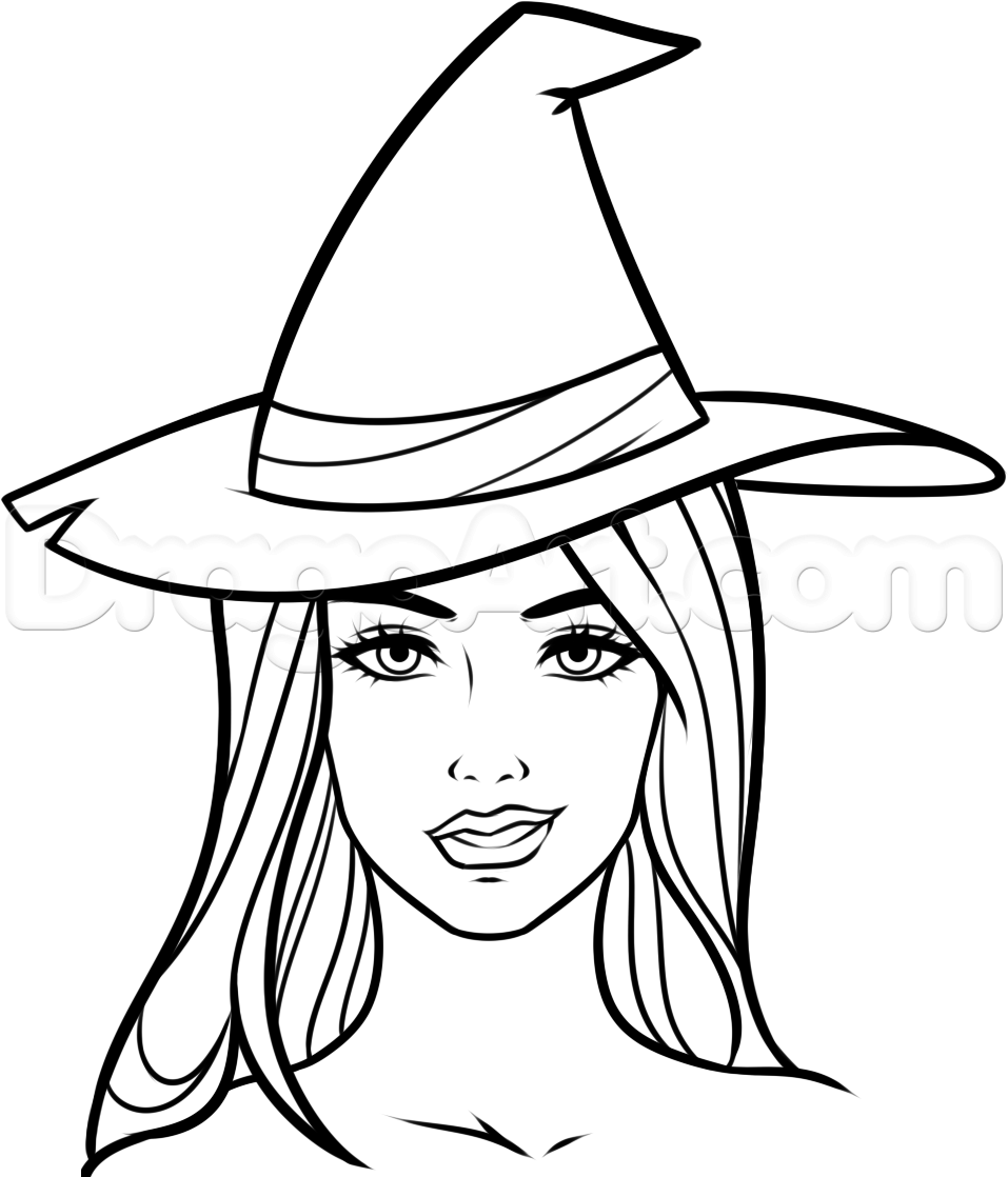 How to Draw a Witch Face, Step by Step, Witches, Monsters