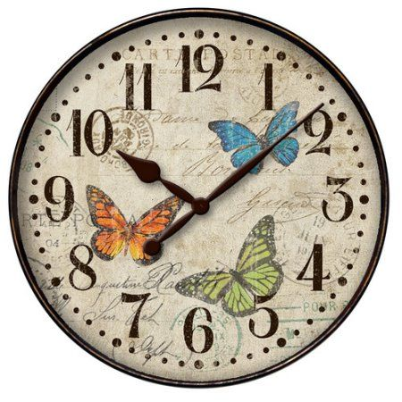 12 Inch Round Buttefly Dial Wall Clock Multicolor Butterfly Wall Clock Cool Clocks