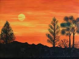 Simple Sunset Scenery Painting Scenery Paintings Landscape Paintings Beginner Painting