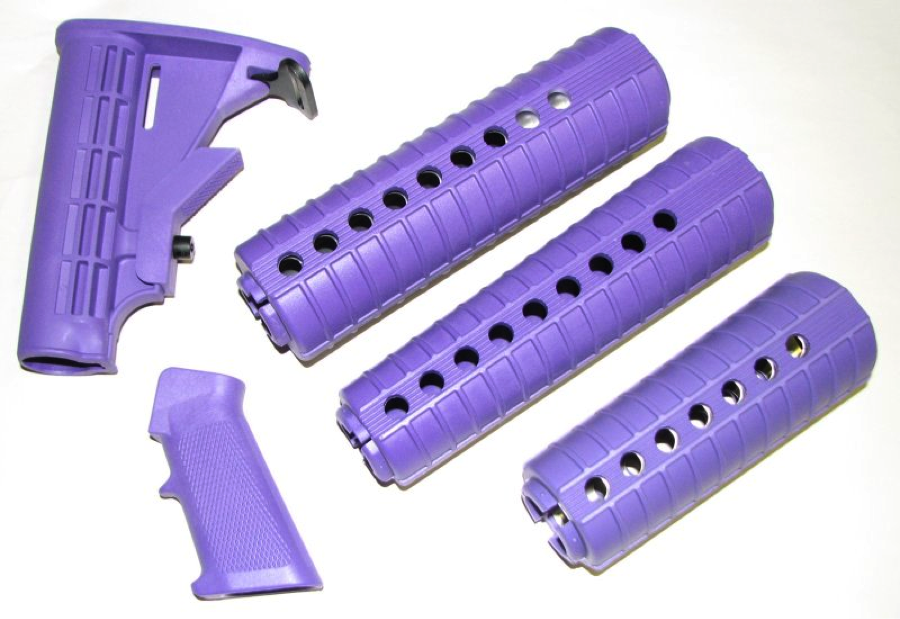 Purple AR-15 furniture set: handguard, grip, telestock