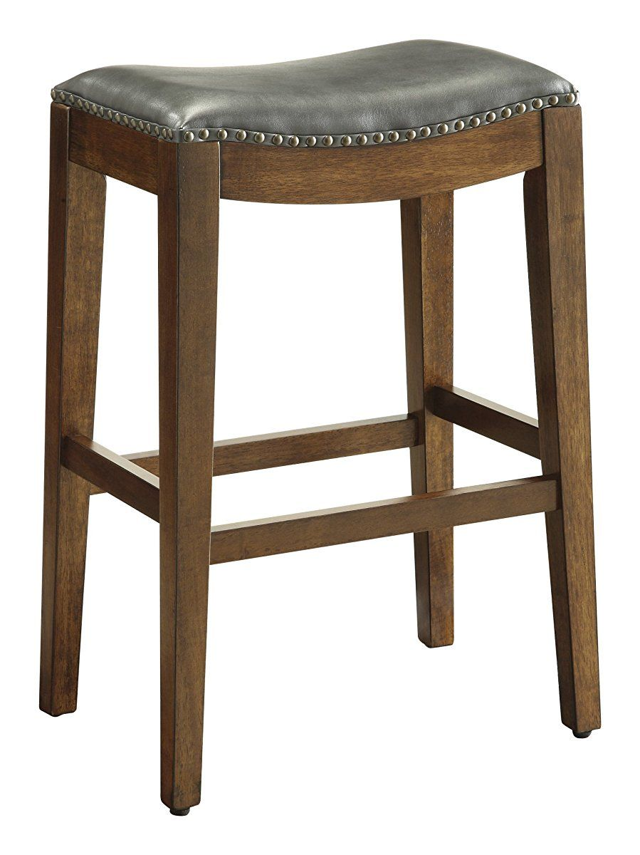 Office Star Metro Bonded Leather Bar Height Saddle Stool With Nail