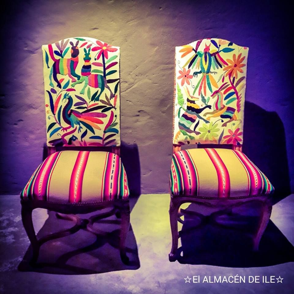 By El Almacén de Ile. Chairs. Ethnic fabrics from Paraguay.