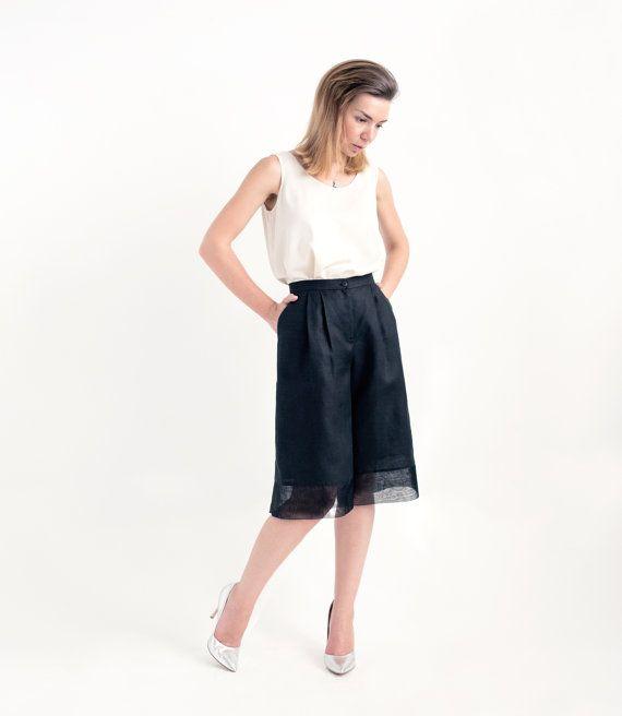 Black Linen Culottes // Wide Leg Shorts // Pants for Women