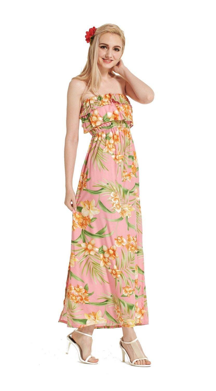 afafef87967a Made In Hawaii Women s Hawaiian Luau Off Shoulder Dress Ruffle Pink Floral