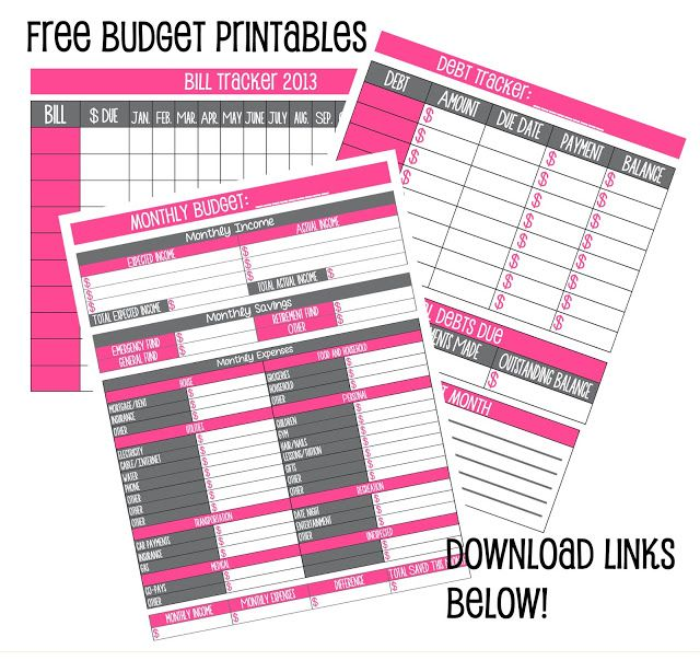Free Budget Printables!!! Organization Pinterest Budgeting
