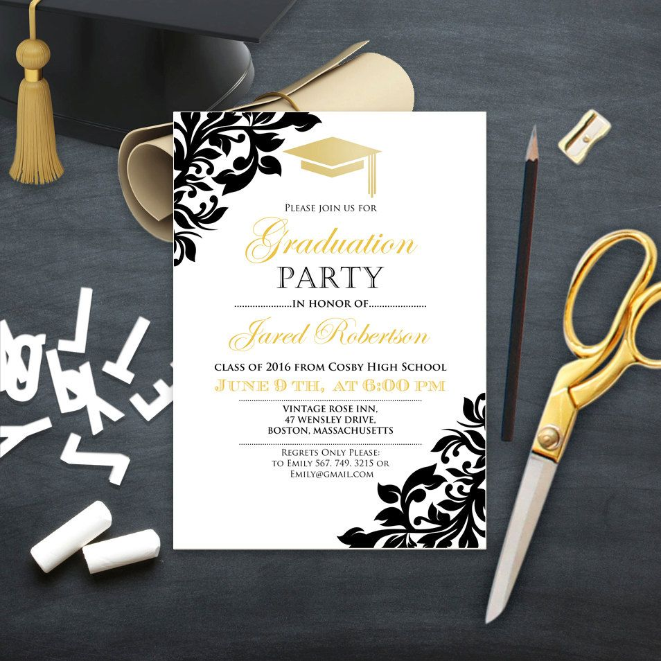 Graduation Party Invitation College Printable Template Girl / Boy Graduation Announcement