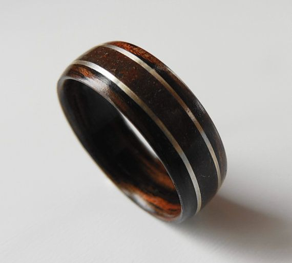Bentwood Ring Dinosaur Bone With Silver On Macassar Ebony Non Metal
