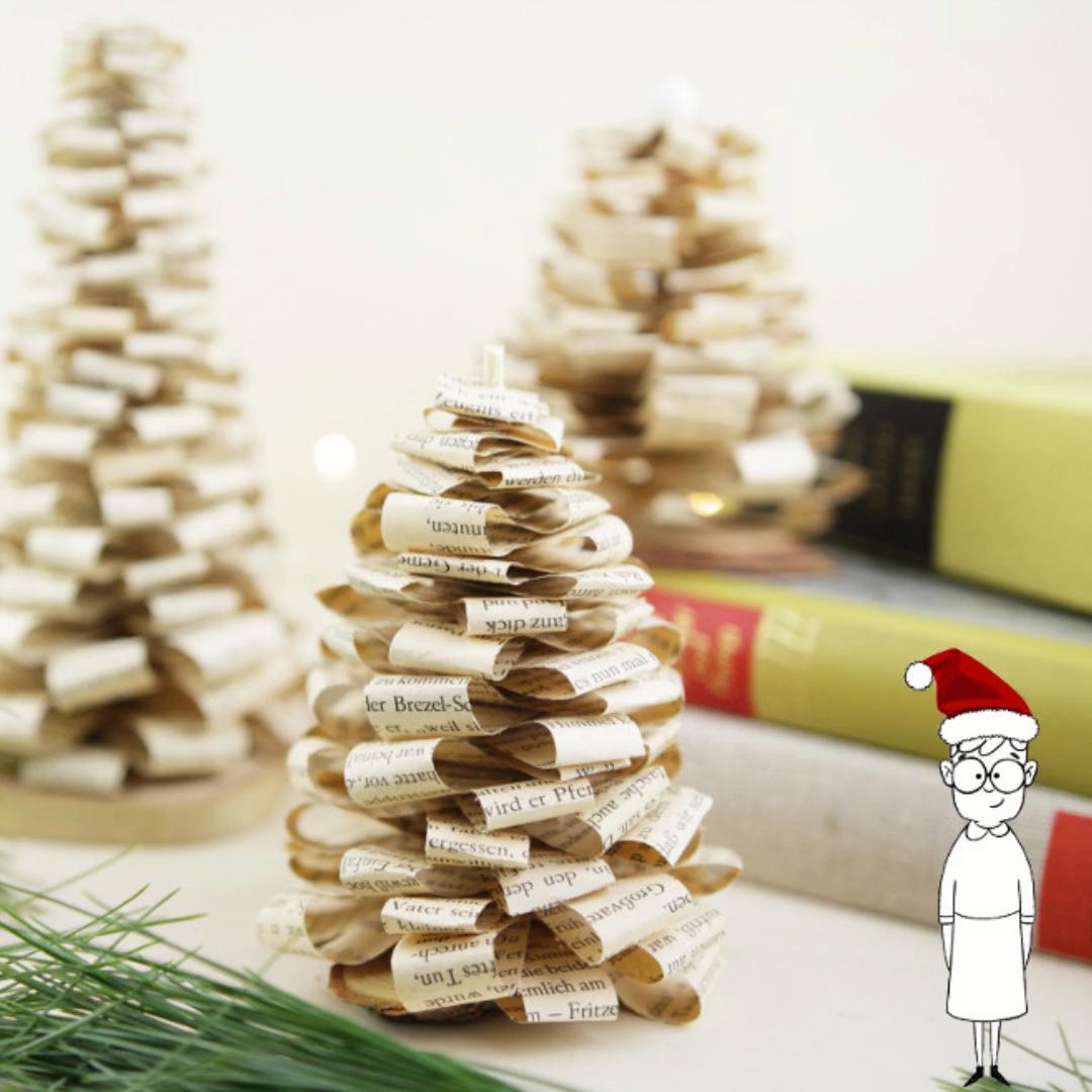 Buchorigami - Tannenbaum falten aus Buchseiten