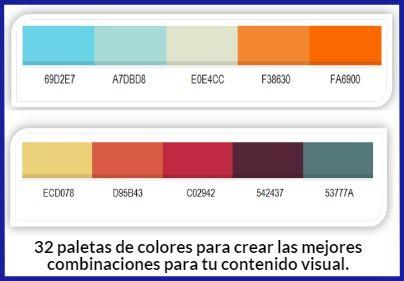 32 Paletas de Colores para crear combinaciones para infografías y otros contenidos visuales. #diseño #blog #infografias #blogging