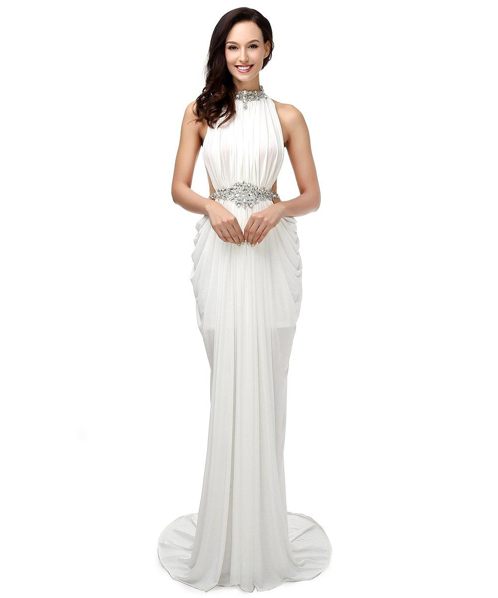 Annieus bridal womenus halter crystal mermaid evening dresses long