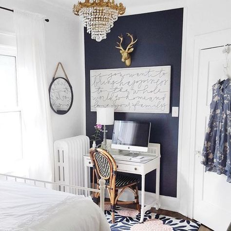 Navy Wall Color Is Hale Navy From Benjamin Moore Door In This Article Is Wrought Iron By Benjamin Moore Blue Accent Walls Navy Accent Walls Accent Wall Bedroom