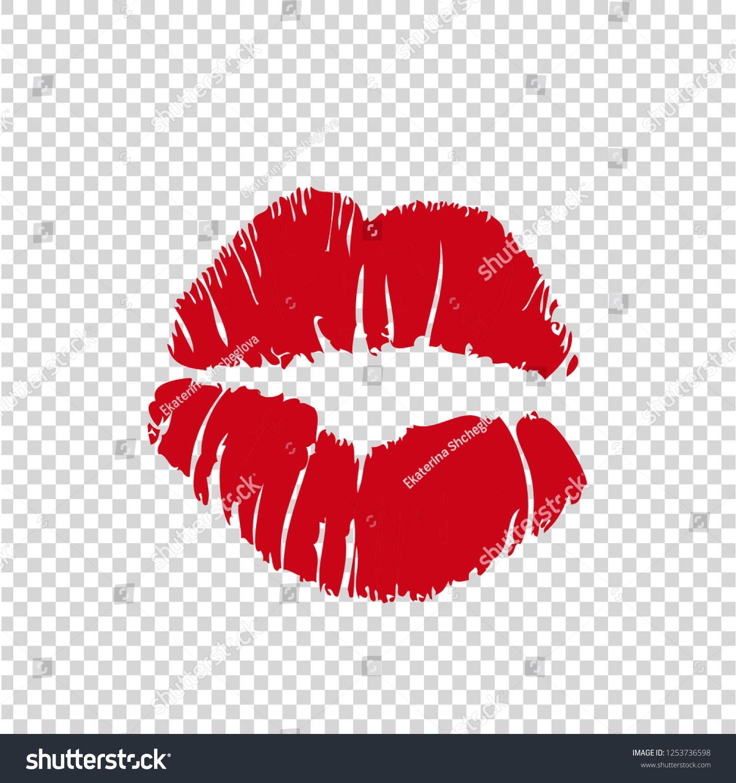 Vector Illustration Of Women Girls Red Lipstick Kissmark Isolated