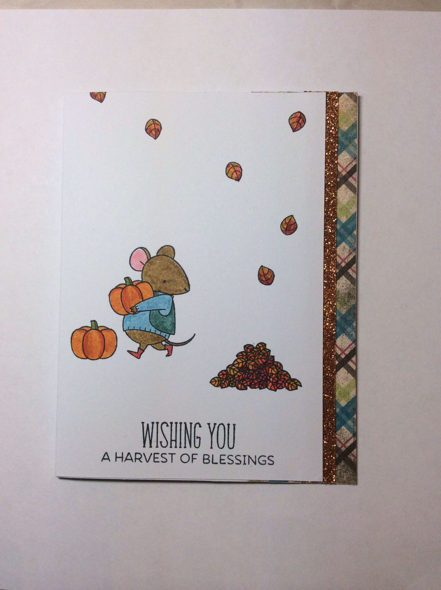 Thanksgiving card using My Favorite Things Harvest Mouse stamp set.