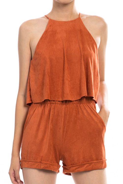 e2b81e580bec Burnt Orange Suede Romper - Longhorn Fashions
