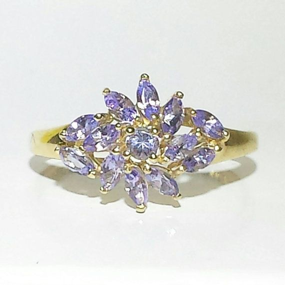 Marquise Cut Tanzanite Floral Burst Ring set in by LadyLibertyGold