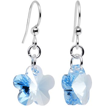 Handcrafted Blue Flower Earrings Created with Swarovski Crystals | Body Candy Body Jewelry