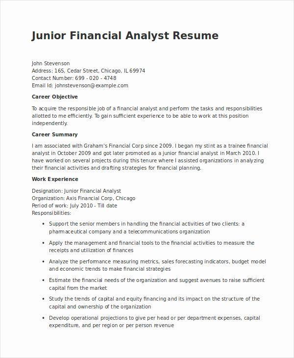 Junior Financial Analyst Resume Unique Financial Analyst Resume 12 Pdf Word Documents