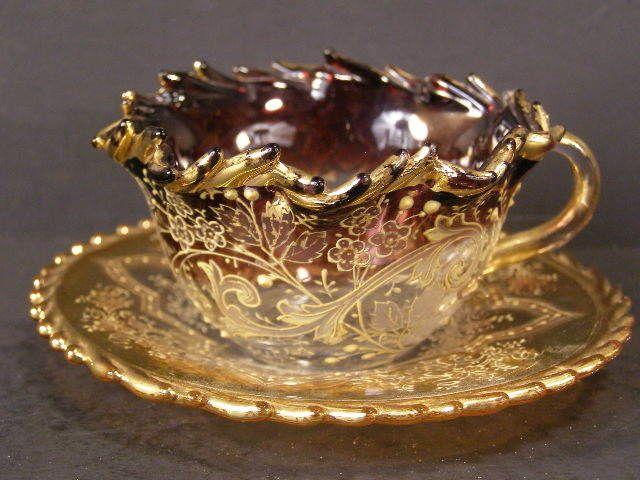 Antique Cranberry RARE Purple Moser Glass Enamel Tea Cup Demi Demitasse Bohemian