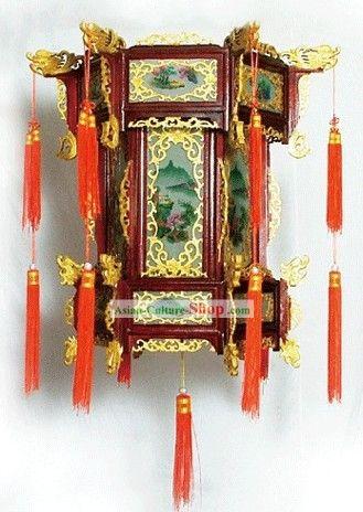 Large Traditional Chinese Hand Carved Natural Wood Palace Lantern Lanterns Lantern Lamp Hand Carved