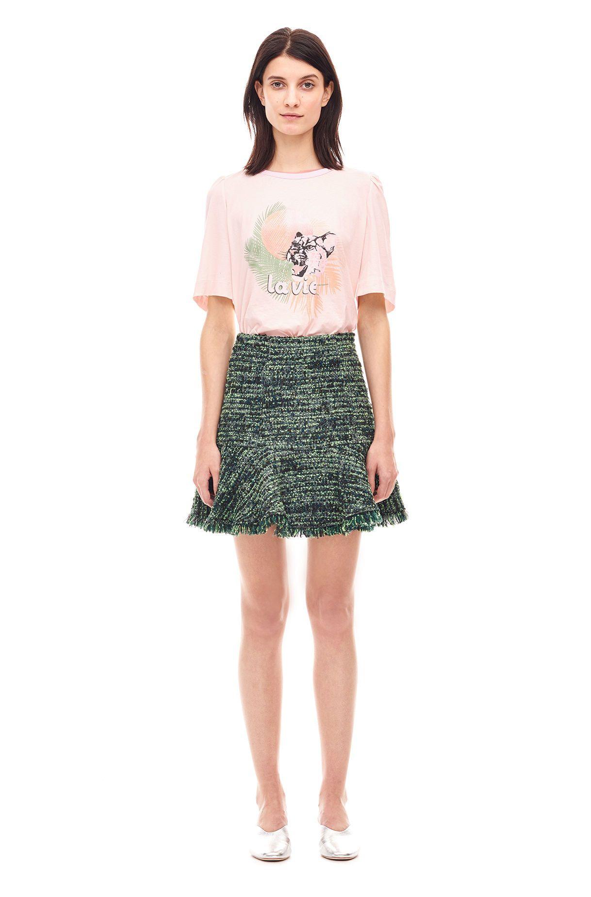 Textured Tweed Ruffle Skirt - Apple Combo