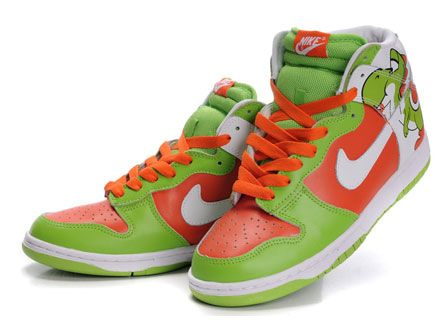 Brass Monki Green Patterns Cartoon Yoshi Nike Dunk High Tops Shoes .