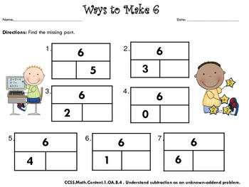 Find The Missing Part Compose And Decompose Numbers To 10 With