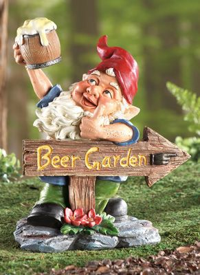Beer Garden Gnome Lawn Ornament Gardens Cheer And Signs