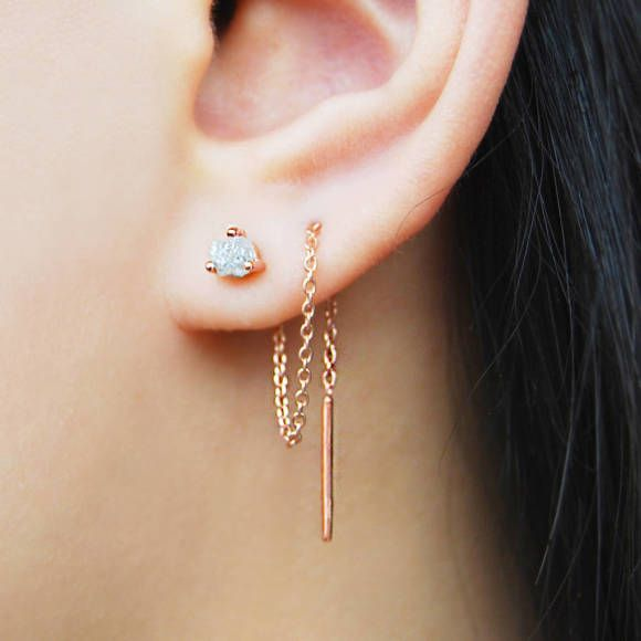 Photo of Rose Gold Raw Diamond Chain Threader Earrings | hardtofind.