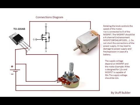 How to build the simplest DC Motor Speed Controller(Using Potentiometer and  MOSFET)Updated - YouTube | Motor speed, Circuit diagram, Electrical circuit  diagramPinterest