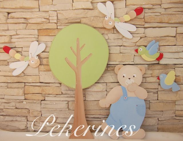 Decoraci n infantil pekerines siluetas de madera osito en - Siluetas madera infantiles ...