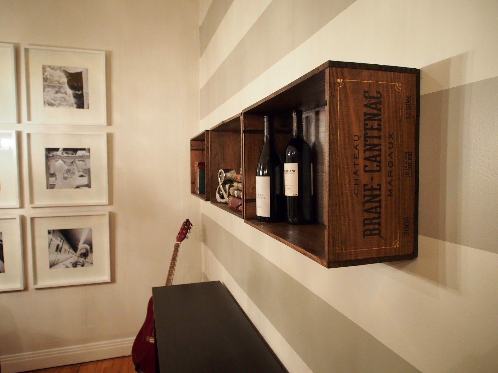 bo te de vin caisse tag re murale id es pinterest caisse caisse a vin et. Black Bedroom Furniture Sets. Home Design Ideas