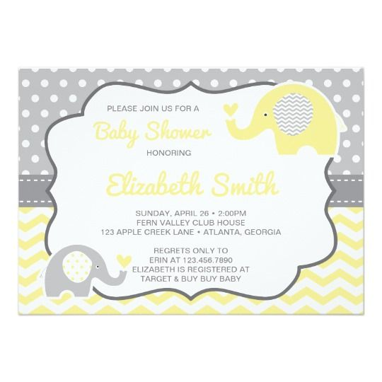 Elephant Baby Shower Invitation Editable Color Invitation Baby