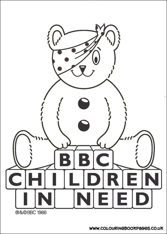 6 awesome Children In Need colouring pages for girls. All the