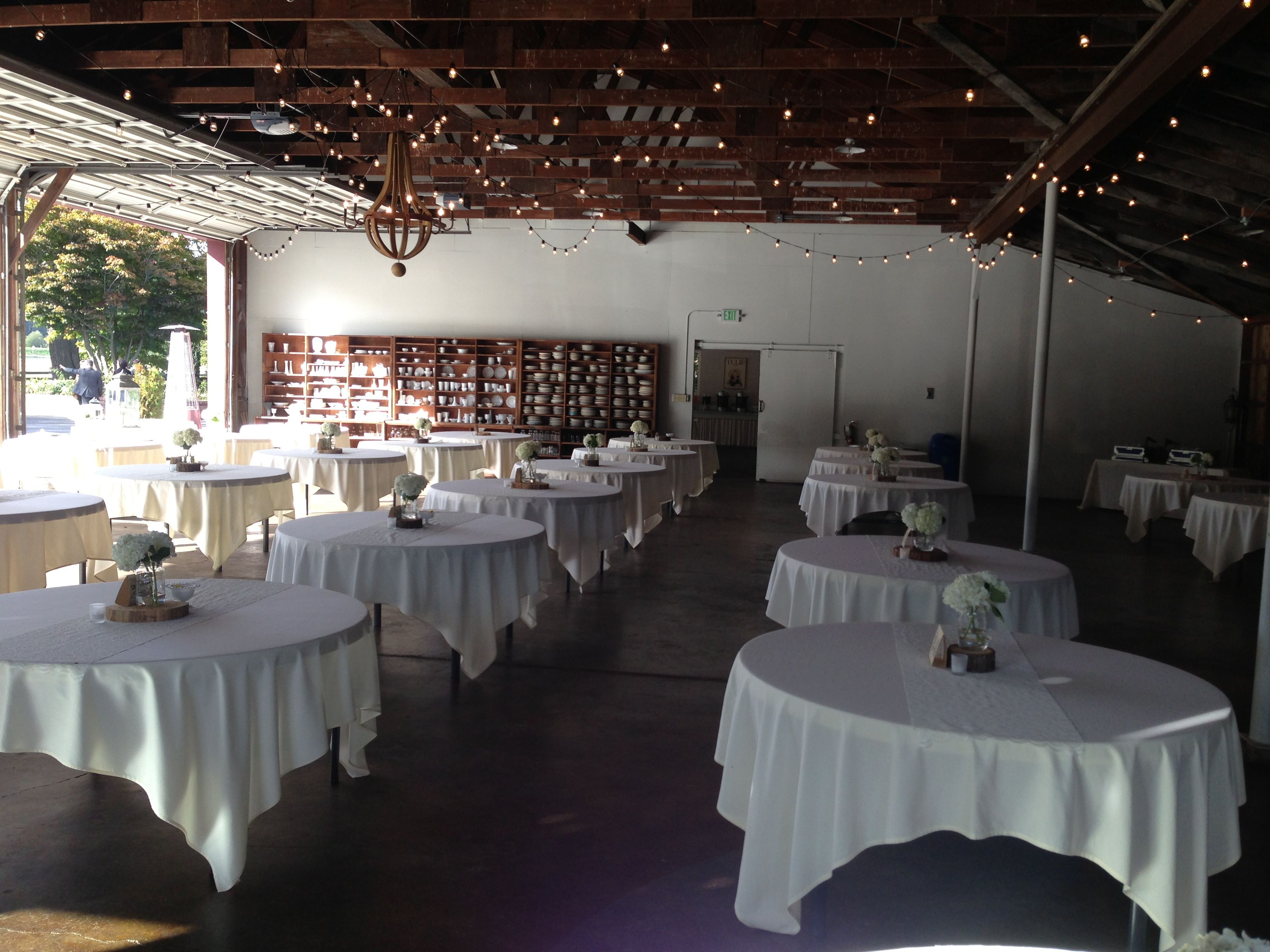 Reception room with classic white linens