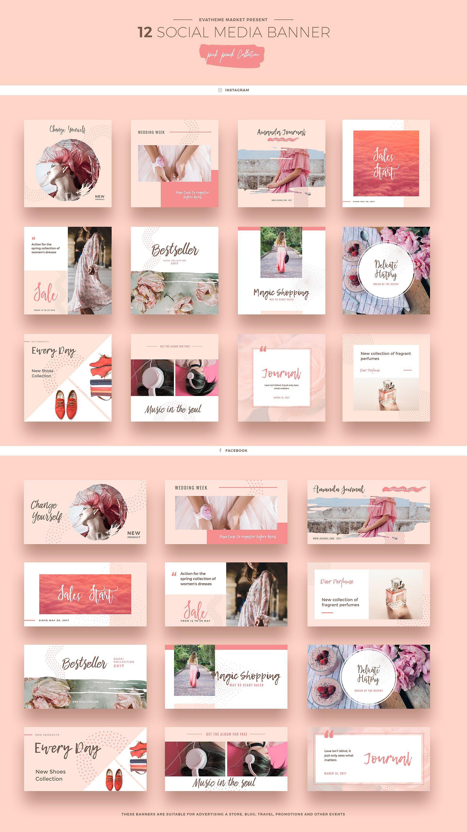 Pink Peach Social Media Designs Social Media Design Media Design Instagram Design