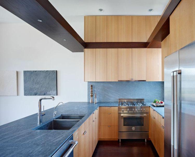 arbeitsplatte k che schiefer holz edelstahl k cheneinrichtung pflegetipps stein k che kitchen. Black Bedroom Furniture Sets. Home Design Ideas