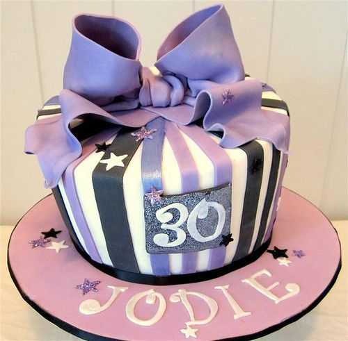 30th Birthday Cake With Tape Purple Happy Birthday Cake Idea