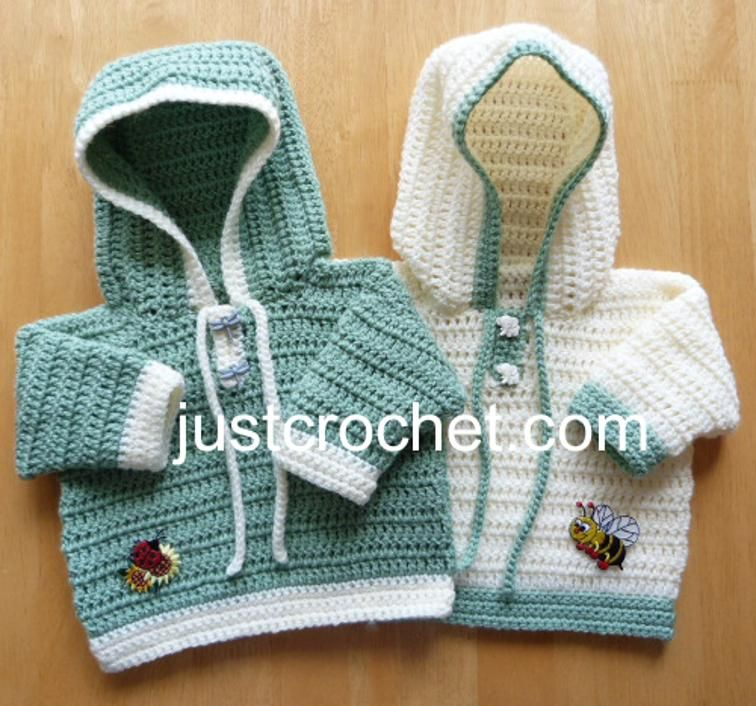 fjc138-Hooded Sweater Baby Crochet Pattern | Craftsy | crochet ...