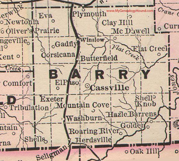 Barry County Missouri 1886 Map Cassville Gadfly Roaring River