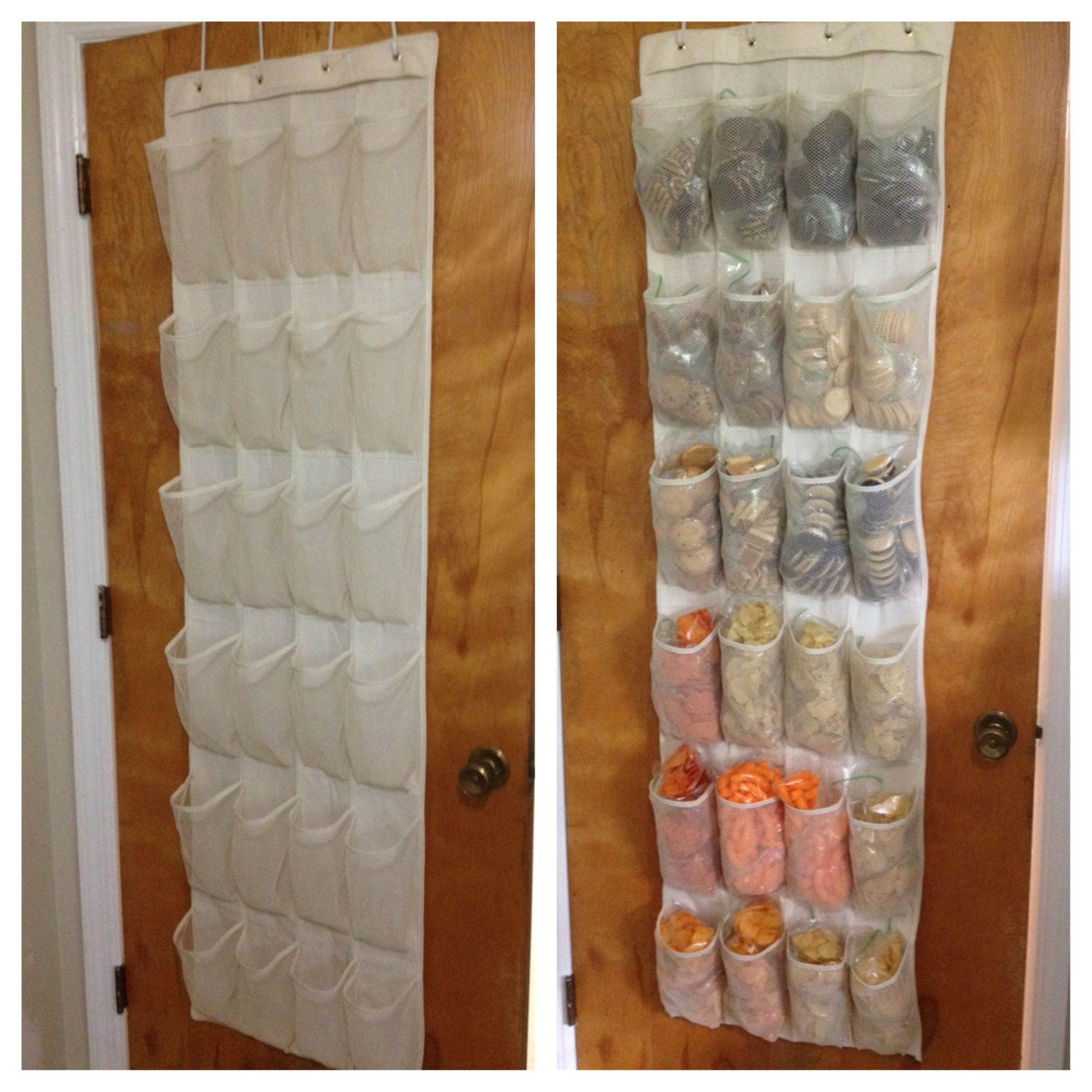 make packing lunch easy no pantry no problem shoe organizer