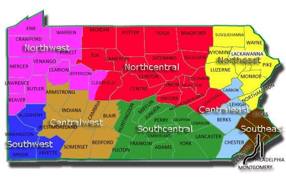 Pennsylvania County And Region Map Tioga Lehigh Susquehanna